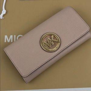 Michael Kors Fulton Wallet Ballet Pink Leather New